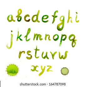 Spring green watercolor painted alphabet