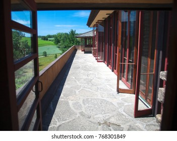 Spring Green, Wisconsin, USA - July 2, 2017: The balcony in Frank Lloyd Wright's Wisconsin home named Taliesin. He is considered one of the most famous architect's in history.