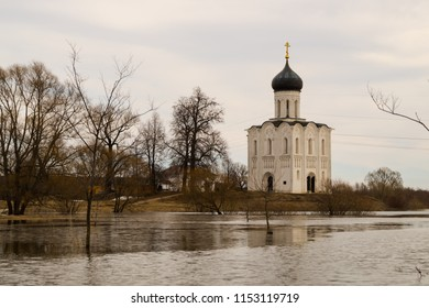 Spring high water around the Church of the Intercession of the Holy Virgin on the Nerl River.