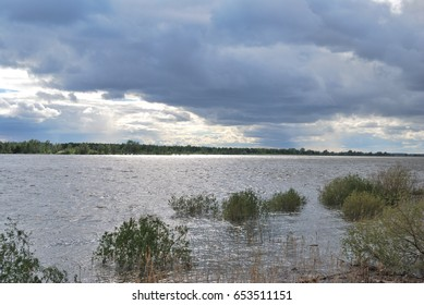 Spring high water on the Irtysh River, Omsk region, Siberia, Russia