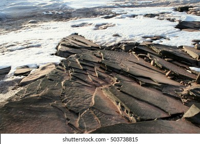 Spring Ice out on Lake Superior Upper Peninsula Michigan