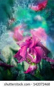 Spring Iris Flowers/vintage background with textured Iris Flowers