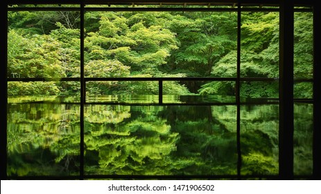 Spring Japanese garden of Rurikoin temple (Ruriko-in), Kyoto, Japan.