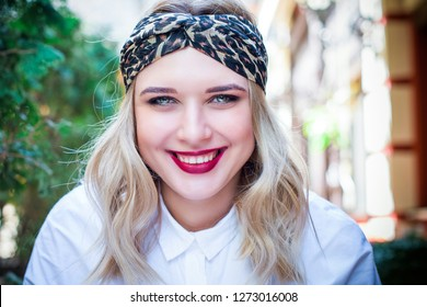 Spring lady plus size smiling young  woman