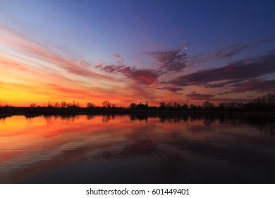 Spring Lake and colored sunrise,water colors naycheni, church, spring morning, clean water
