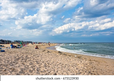 SPRING LAKE, NEW JERSEY - JULY 3 - A view of the beach on a late Summer afternoon on July 3 2017 in Spring Lake NJ.