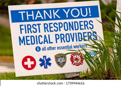 Spring Lake, NJ 5/25/2020 Sign supporting first responders and healthcare workers at the Jersey Shore.