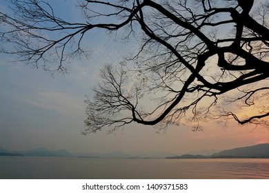 Spring lake sunset clouds of sunset