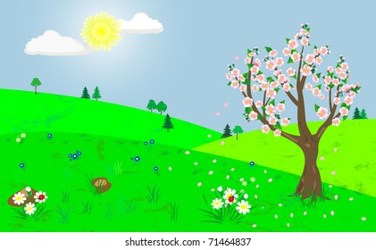 Spring landscape with the blooming tree.The similar image in my portfolio in vector format.