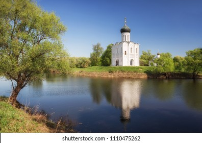 Spring landscape with Church of Intercession of Holy Virgin on Nerl River, Bogolyubovo, Russia