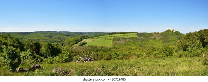 Spring landscape in the Czech Republic. Beautiful panoramic landscape photos with the castle Buchlov.Springtime.