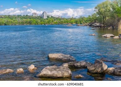 Spring landscape with Dnipro riverside on a Khortytsia island in Zaporizhia city, Ukraine