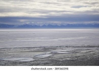 Spring landscape with drifting ice