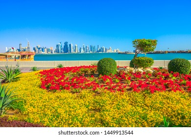 Spring landscape of flower beds and blooming trees on Corniche promenade of Doha Bay in Qatar. Tall skyscrapers of Doha Downtown skyline on distance. Blue sky in sunny day. Copy space.