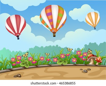 Spring landscape with hot air balloon