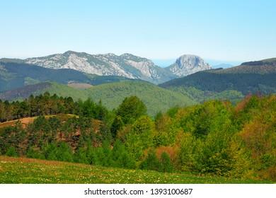 Spring landscape with Mugarra mountain in Urkiola