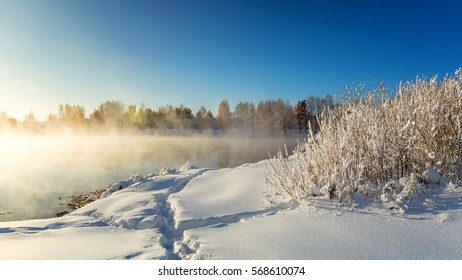 spring landscape on the lake with the fog and the trees in frost, Russia, Ural