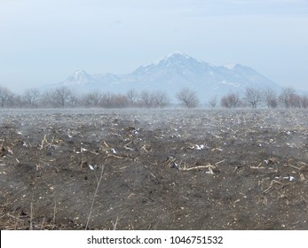 spring landscape. A paired field, dried grass, fertile soil awakes from winter sleep. Clear day. No one.  Mount Beshtau, Pyatigorsk, Stavropol region, Russia