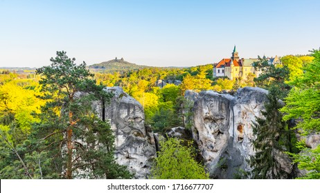 Spring landscape panorama of Bohemian Paradise, Czech: Cesky Raj. Hruba Skala castle and Trosky ruins. Czech Republic. - Shutterstock ID 1716677707