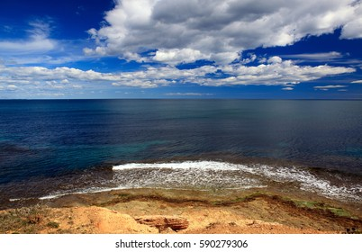 Spring landscape with the sea shore and clouds in Spain on the Costa Blanca