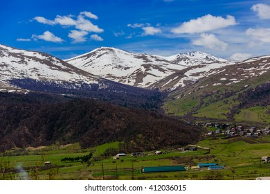 Spring landscape with snowy mountains, Armenia