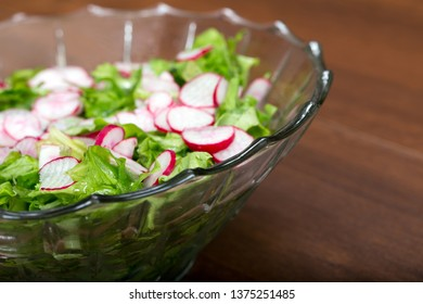 Spring light salad of radish and lettuce