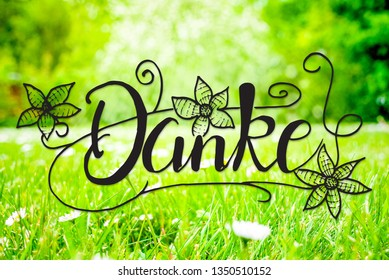 Spring Meadow, Daisy, Calligraphy Danke Means Thank You