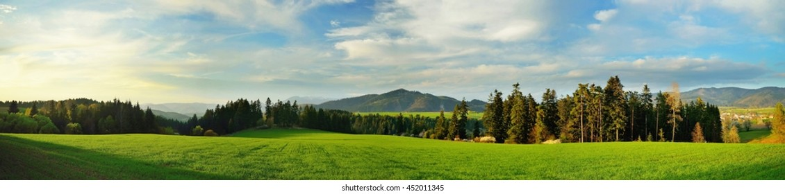Spring meadows and fields landscape in Slovakia