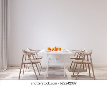 Spring morning Mock up wall dining room interior urban contemporary design. Scandinavian style interior. Copy space background. 3d rendering
