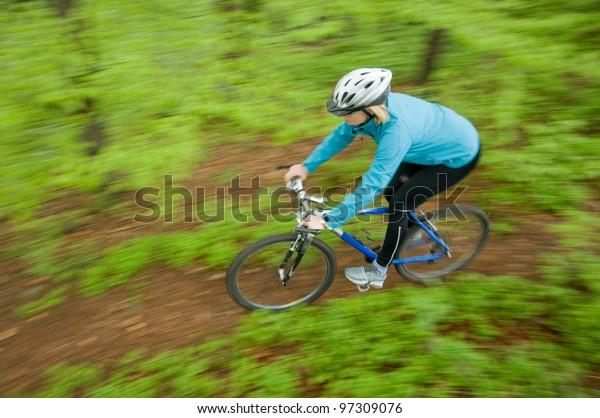 Spring mountain biking down the trail