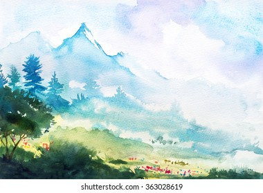 Spring mountain watercolor landscape.