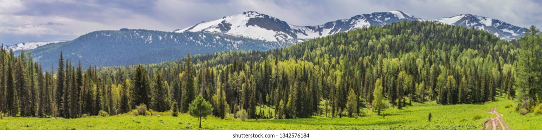 Spring in the mountains, green meadows and forests and snow-capped peaks. Panorama nature.