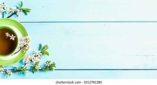 Spring nature background with lovely blossom in blue pastel color. Tea and flowers of cherry on a blue wooden background. Top view, banner. Springtime concept