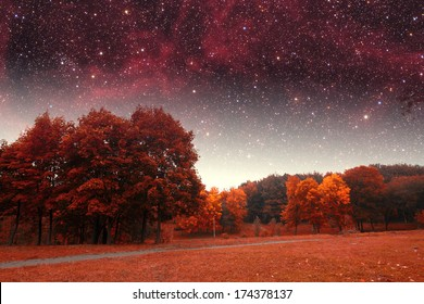 spring night infrared photography. Elements of this image furnished by NASA
