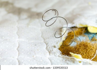 Spring in old bed mattress with pills. Hole in old dirty leaky couch, need of repair or replacement.