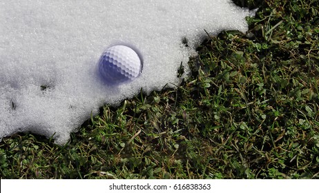 Spring on a golf course. A golf ball forgotten on the golf course is on the melting snow.