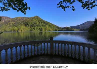 In the spring on Lake Ritsa in Abkhazia