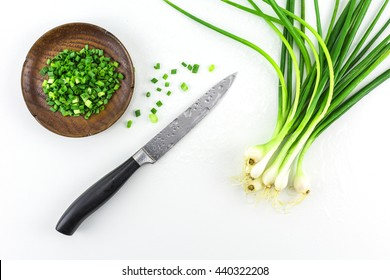 Spring Onion on a white background./ Bunch of fresh green onions (scallions) on white background.