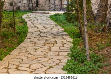 spring outdoor garden paved road cozy empty place