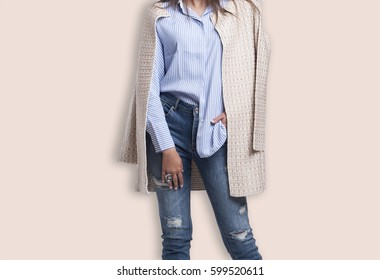 Spring outfit fashion design, young stylish woman