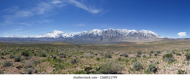 spring panorama of the Eastern Sierra Nevada mountains from the volcanic tablelands near Bishop California with Mount Tom and the Wheeler Crest
