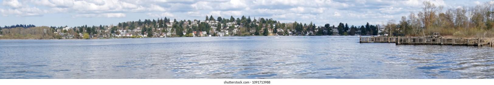Spring panorama of Laurelhurst residential area and wetlands on Lake Washington in Seattle