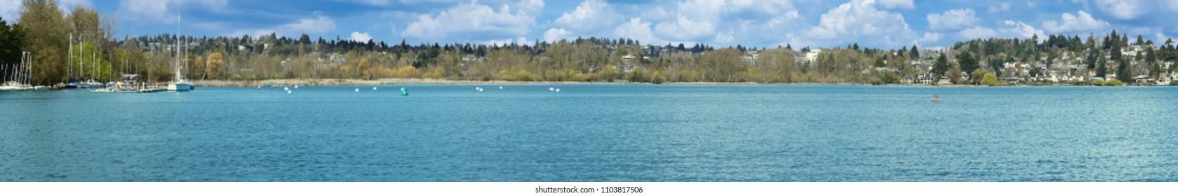 Spring panorama of Laurelhurst residential area on Lake Washington in Seattle