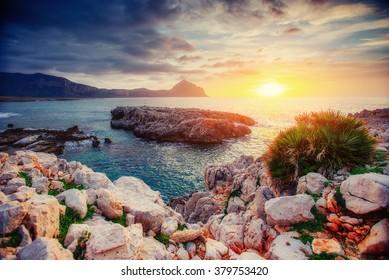Spring panorama of sea coast city Trapany. Sicily, Italy, Europe.