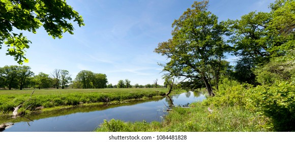 spring panoramic landscape of river and big wide meadow