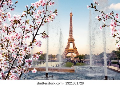 Spring in Paris. Eiffel Tower (La Tour Eiffel) with fountains.