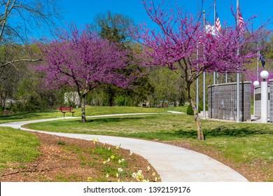Spring in the park hiking trail at Bella Vista Lake Park, Northwest Arkansas