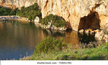 Spring photo from reflecting lake Vouliagmeni famous for healing abilities, Vouliagmeni, Attica, Greece