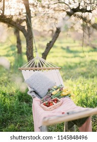 Spring Picnic in the Nature in a Blooming Garden. A Hammock with Strawberries and Flowers. Summer Mood