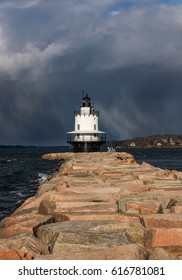 Spring Point Ledge Light with big cloud